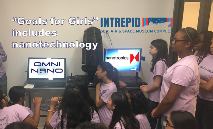 """Nanotronics coordinated a Nanotechnology Workshops for the girls of """"Goals for Girls"""" in collaboration with the Intrepid Museum."""