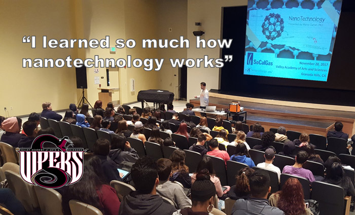 Omni Nano presented its Discover Nanotechnology Workshops to 160 students at the Valley Academy of Arts and Sciences.