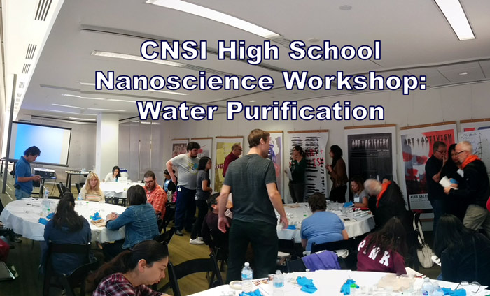 Science teachers getting trained on techniques for water purification using nanomaterials at UCLA's CNSI.