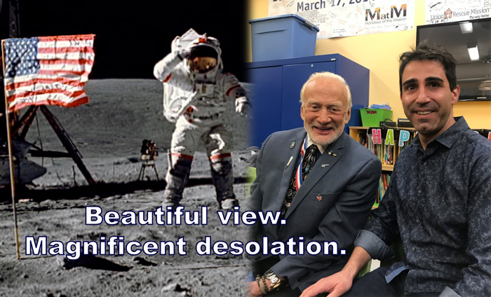 Dr. Marco Curreli of Omni Nano meeting astronaut Buzz Aldrin at the Monday at the Mission.