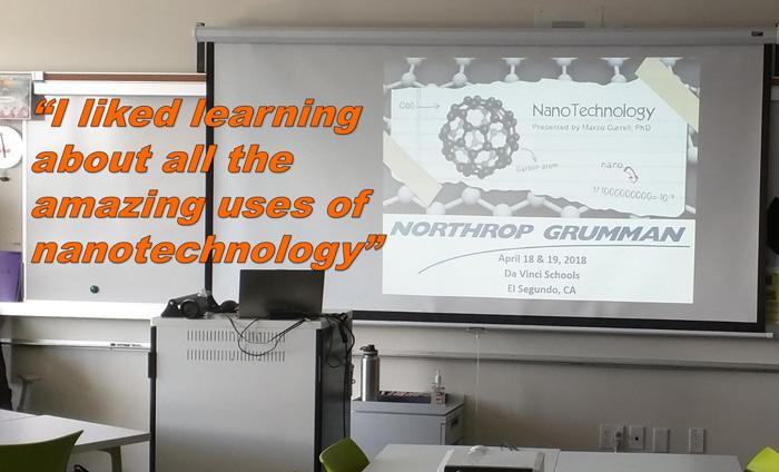 Omni Nano presented its Discover Nanotechnology Workshops to 140 students at Da Vinci Schools in El Segundo, CA.