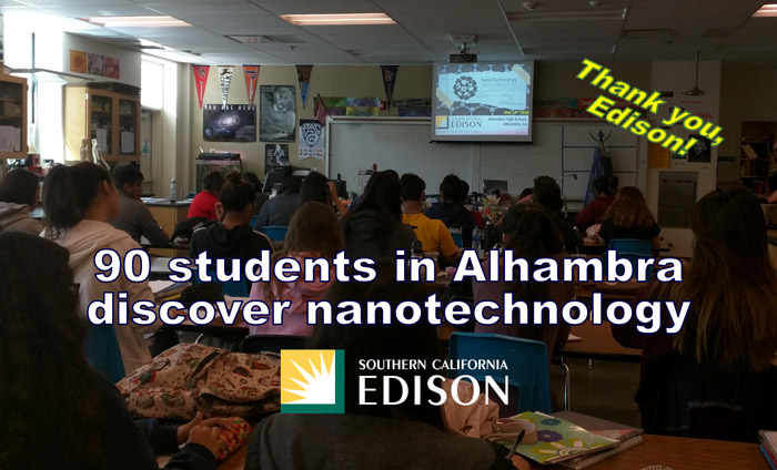 Today, Omni Nano presented its Discover Nanotechnology Workshops to 90 students at Alhambra High School.