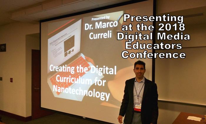 "Omni Nano presents ""Creating the Digital Curriculum for Nanotechnology"" at the 2018 Digital Media Educators Conference (DMEC)."