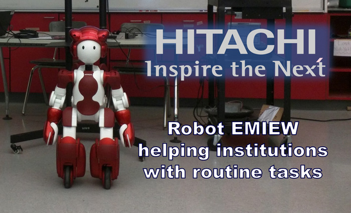 """Omni Nano attended the 8th Annual """"Hitachi Celebrates Science Day"""" to brainstorm potential applications for Hitachi's EMIEW3 humanoid robots in development"""