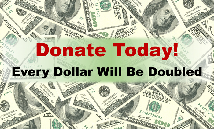 Every dollar donated through the end of 2018 will be DOUBLED! Donate today!